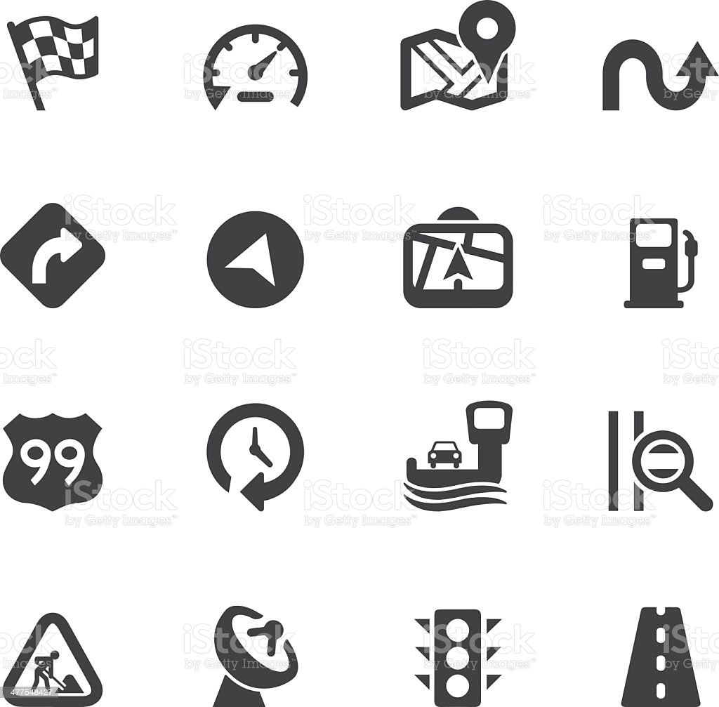 Map and Navigation Silhouette icons royalty-free stock vector art