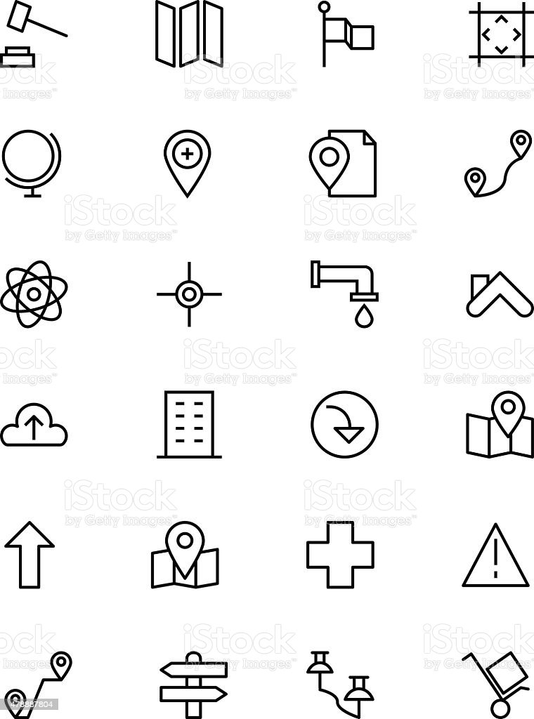 Map and Navigation Vector Line Icons 3 vector art illustration