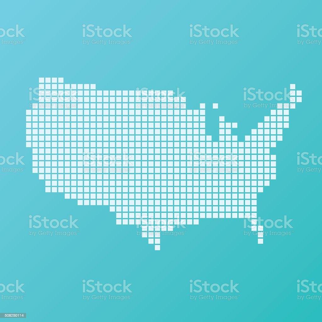 USA Map Basic Square Pattern Turquoise vector art illustration