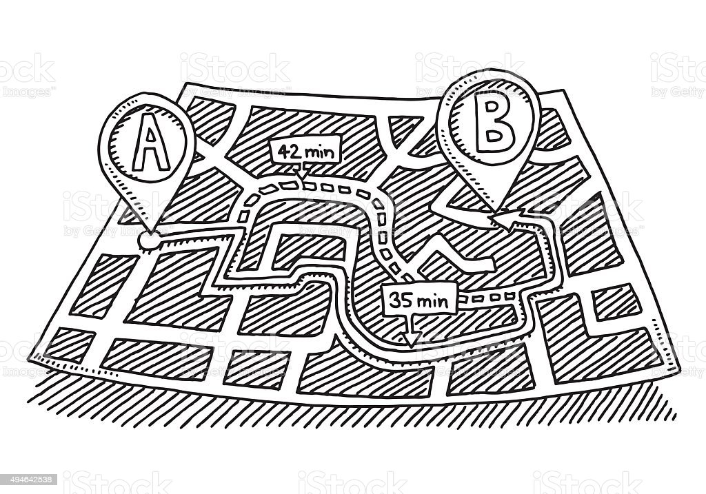 Map Direction From A To B Drawing vector art illustration