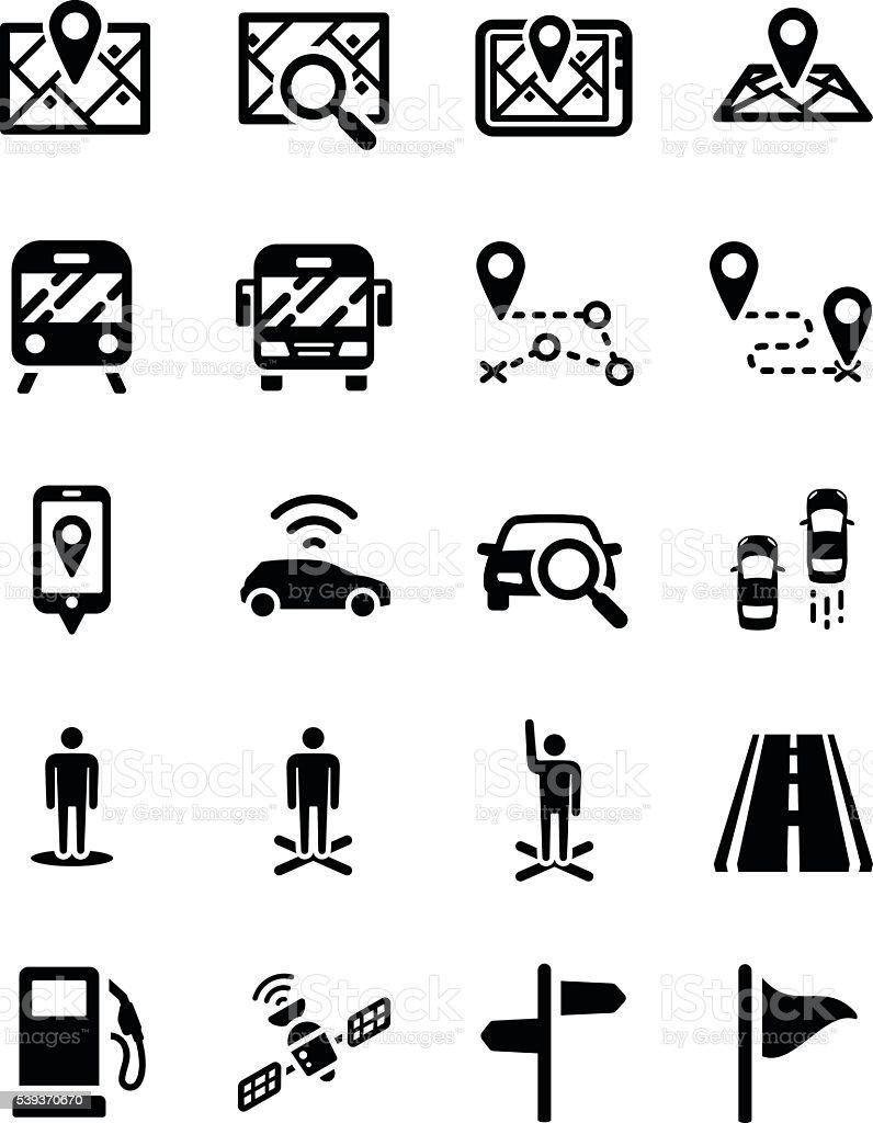 Map Direction Location GPS icon set vector art illustration