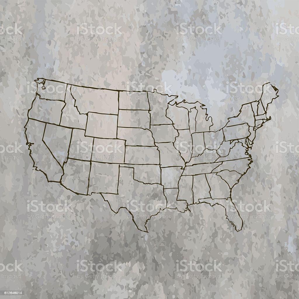 USA Map drwand on stone grunge grey background vector art illustration