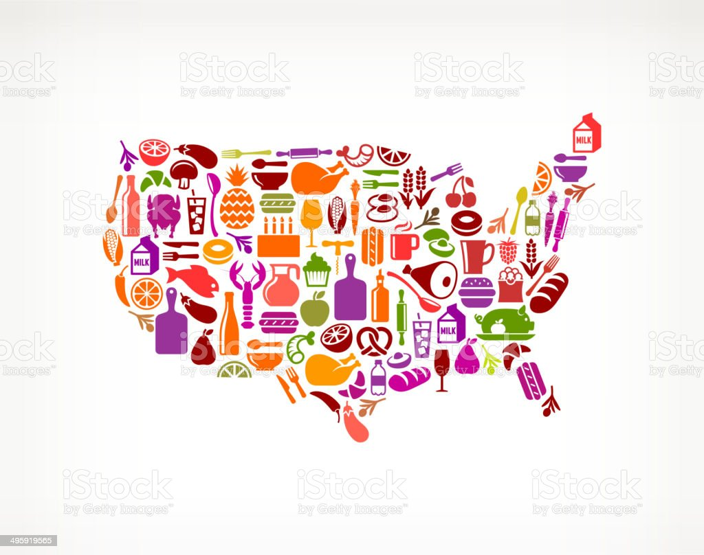 USA Map on royalty free vector icons Food and Drink. The vector icons...