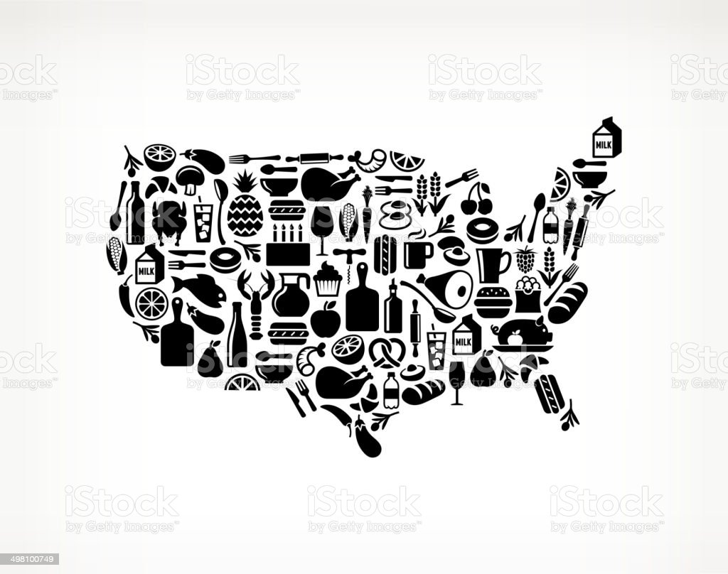 USA Map Food & Drink royalty free vector arts vector art illustration