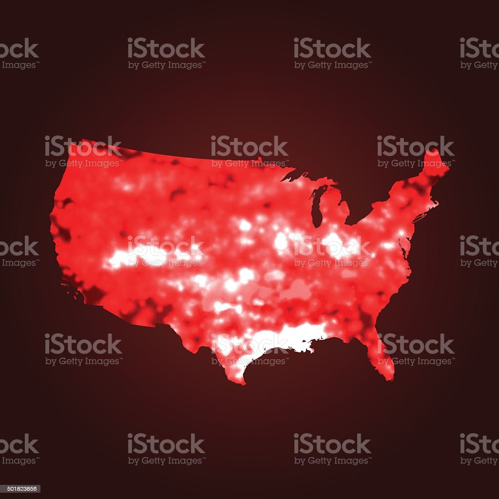 USA map global warming on red background vector art illustration