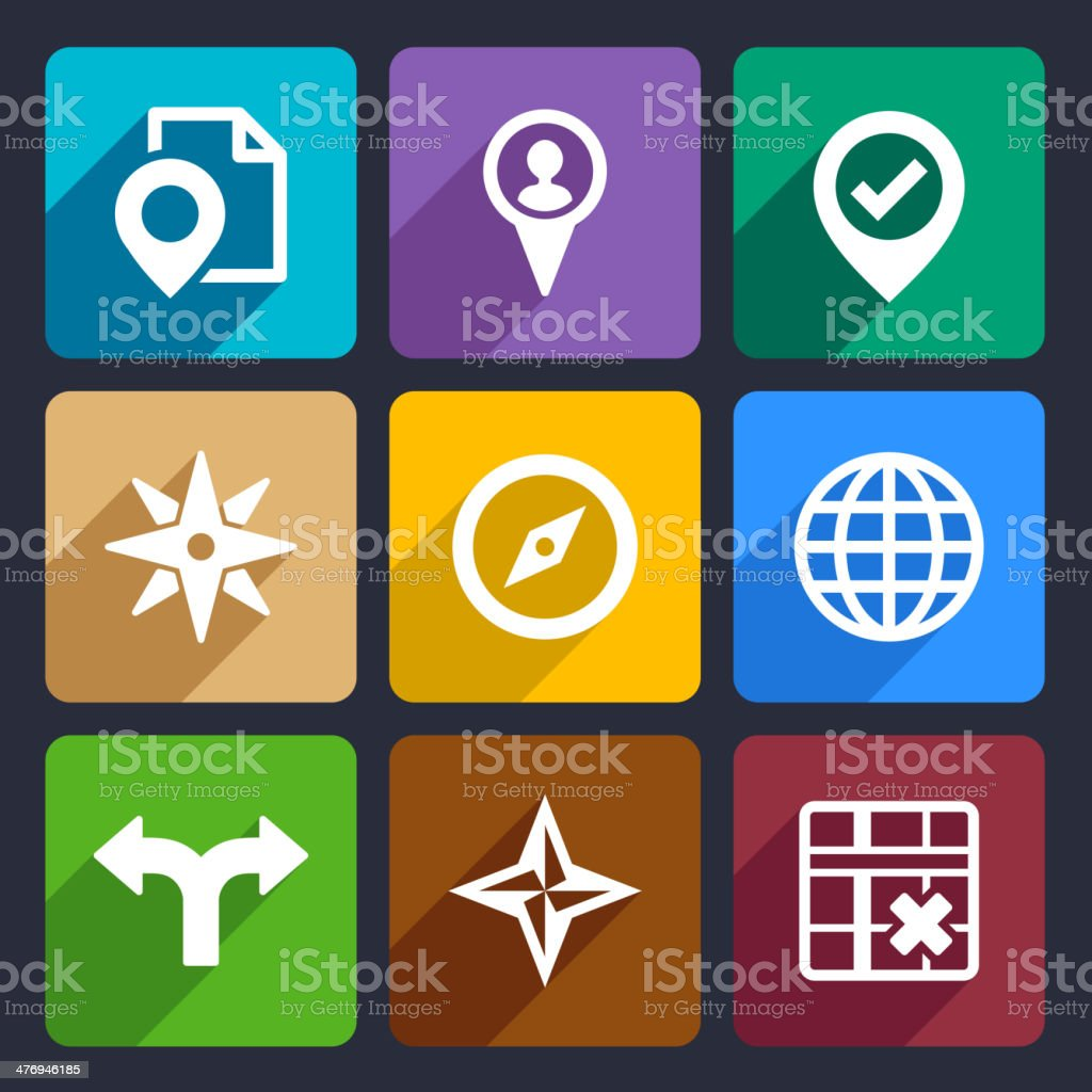 Map, GPS and Navigation  Flat Icons Set 46 royalty-free stock vector art
