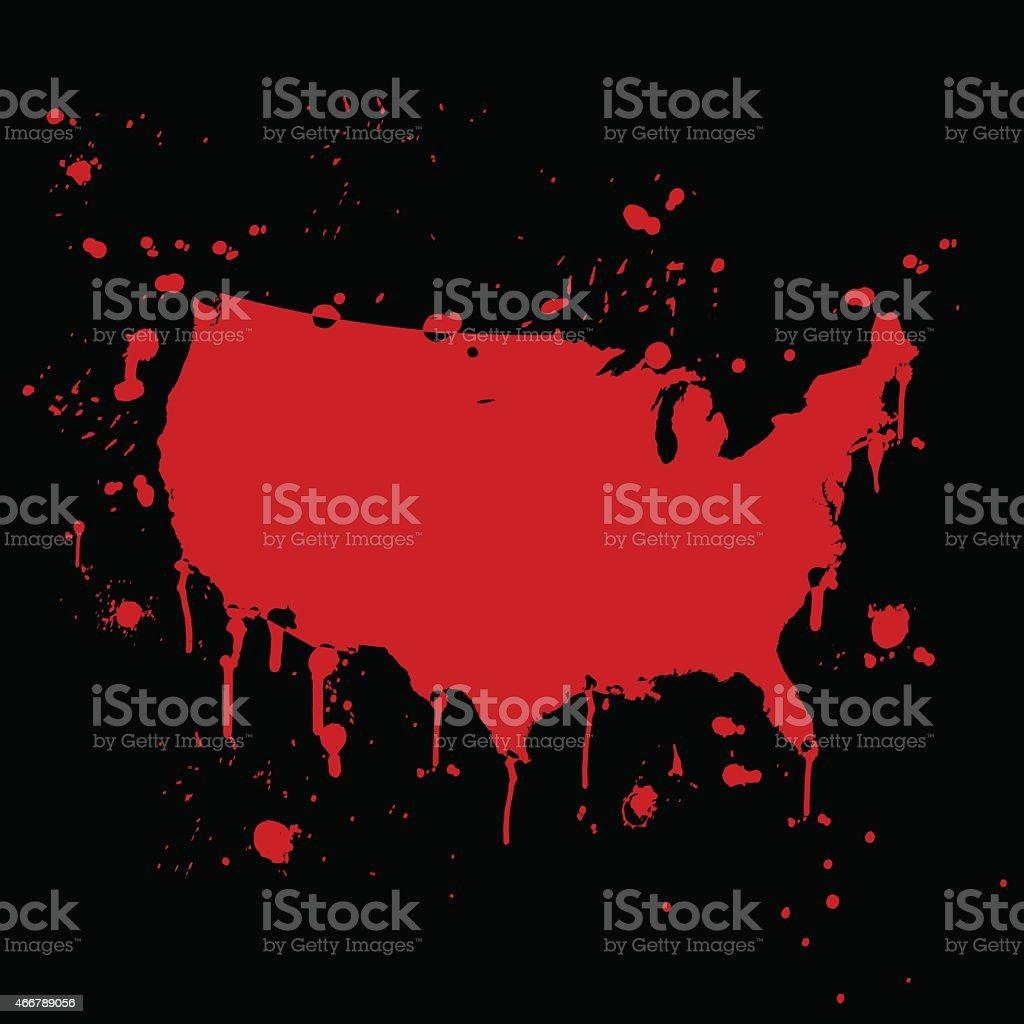 USA map graffiti red splats on black wall vector art illustration