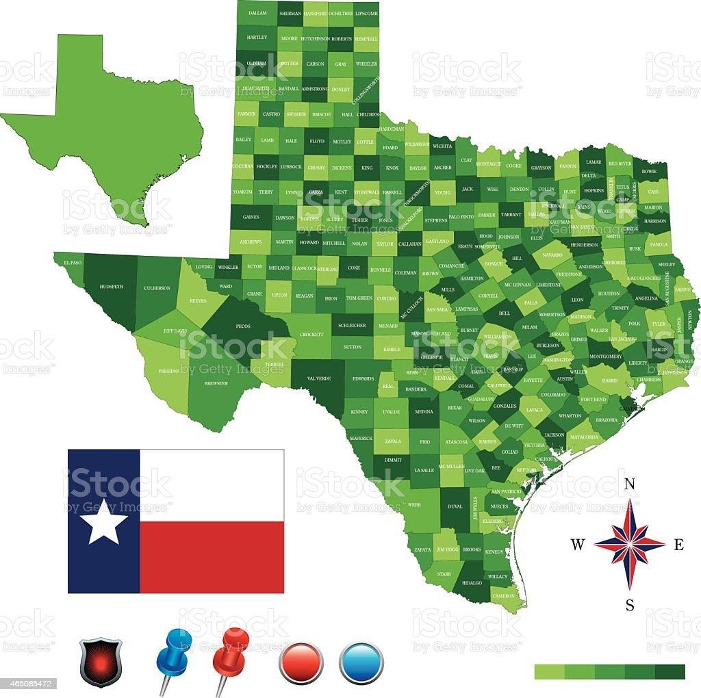 USA map green - states, cities, flag vector art illustration
