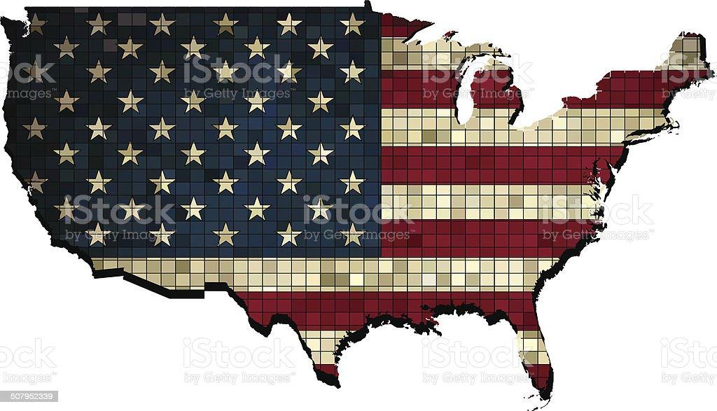 USA map grunge mosaic vector art illustration