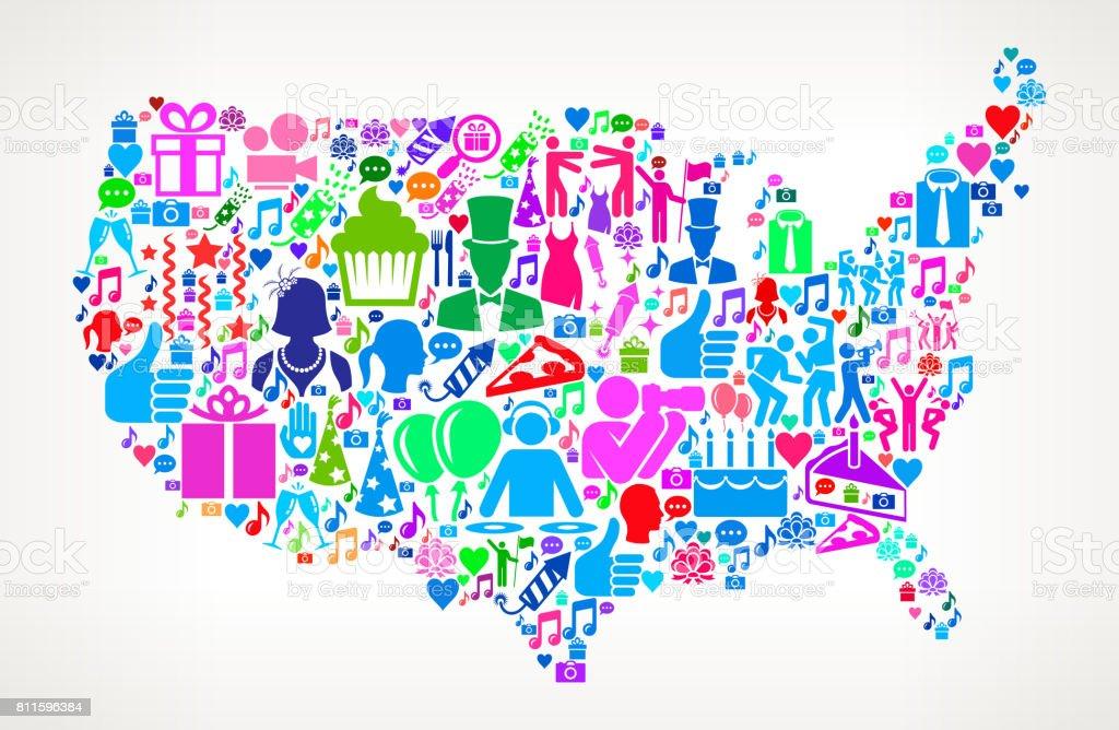 Us Map Happy Birthday Celebration Vector Icon Pattern Stock Vector - Us map icon