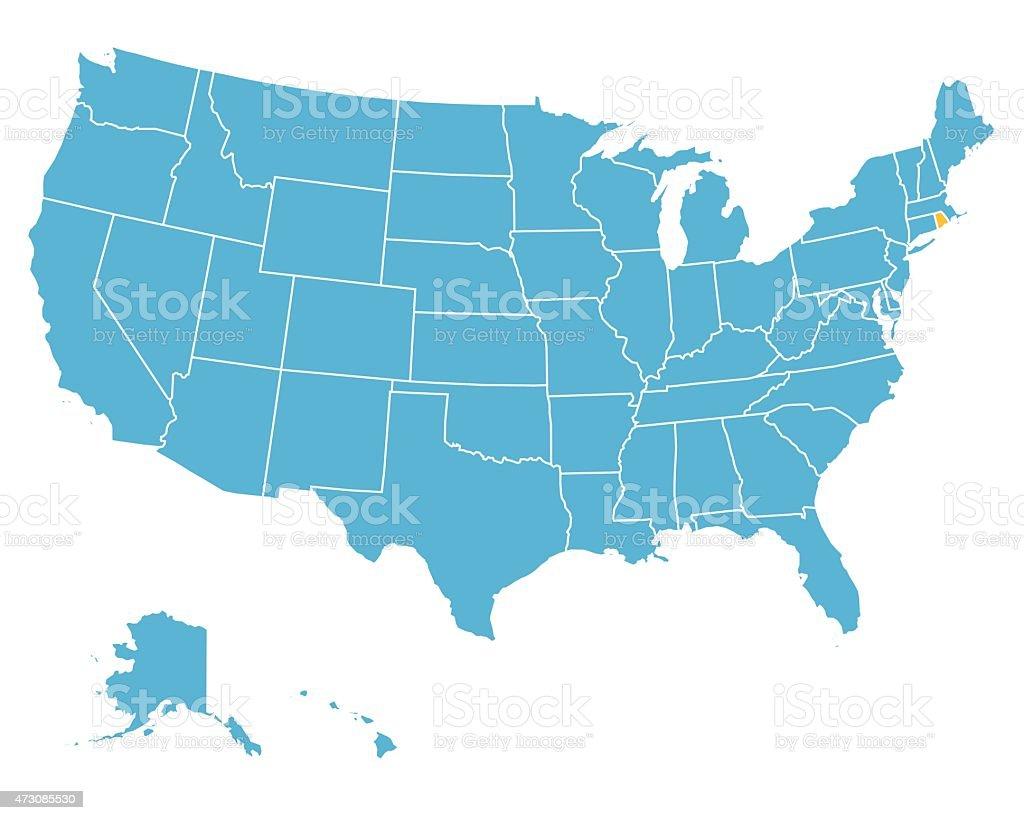 Usa Map Highlighting State Of Rhode Island Vector Stock Vector Art - Rhode island in usa map