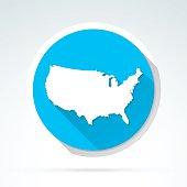 USA map icon, Flat Design, Long Shadow