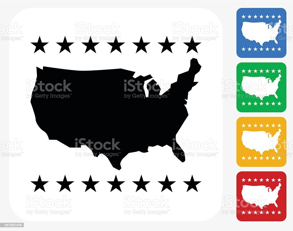 U.S.A Map Icon Flat Graphic Design vector art illustration