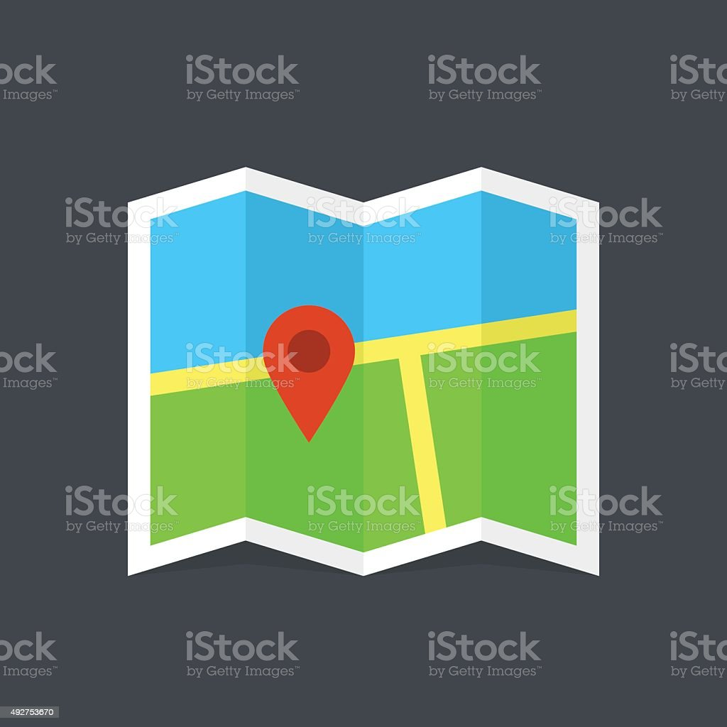 Map icon, modern minimal flat design style, vector illustration vector art illustration