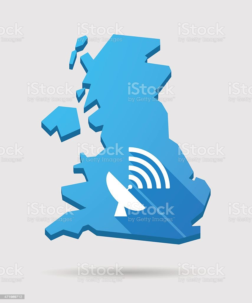 UK map icon with an antenna vector art illustration