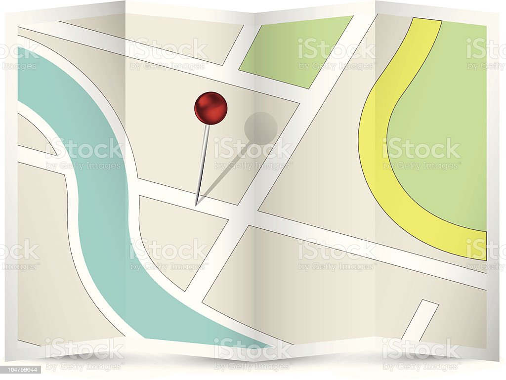 Map Icon with Red Pin royalty-free stock vector art