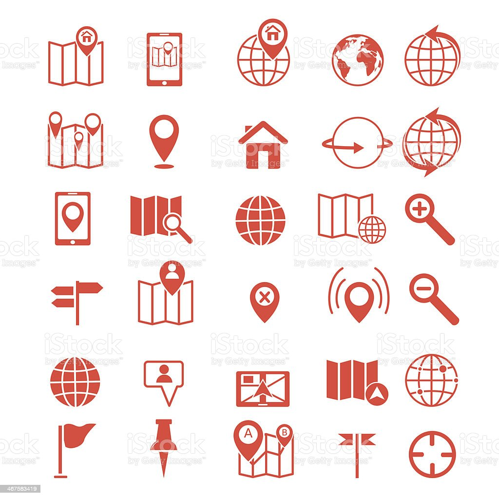 map icons set, vector vector art illustration
