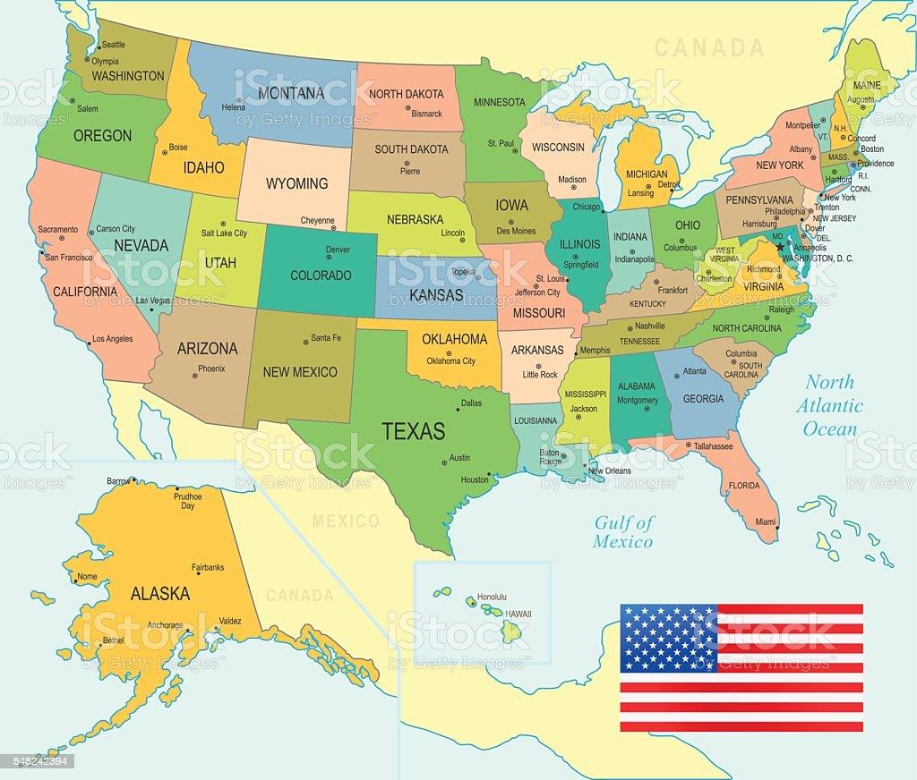 USA Map - illustration vector art illustration