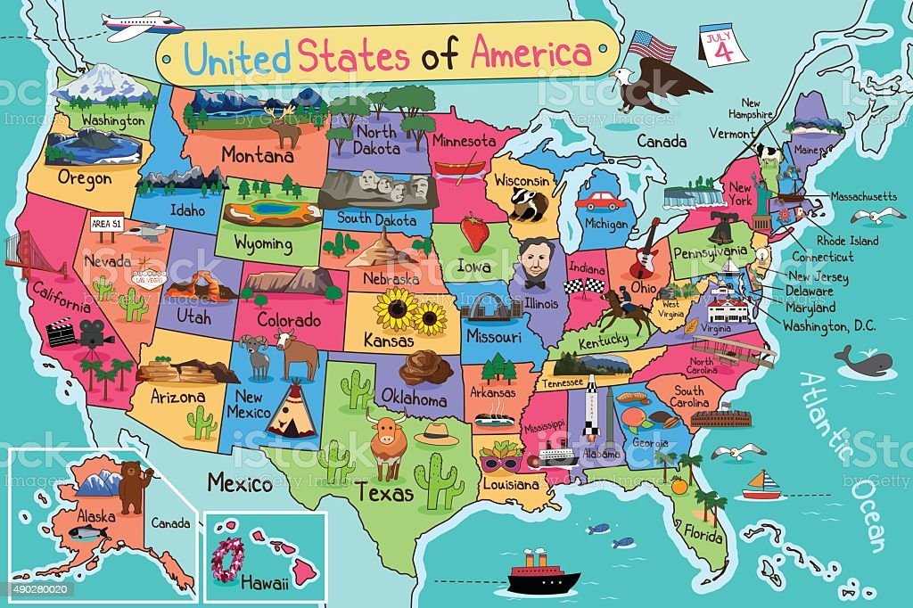 Usa Map In Cartoon Style Stock Vector Art IStock - Fun map of the us