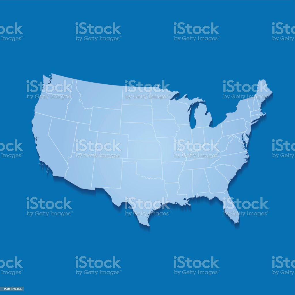 USA map in white colors blue on solid background vector art illustration