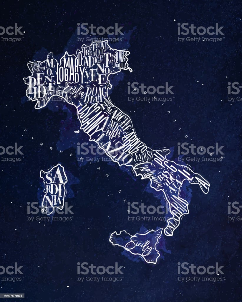 Map Italy vintage blue vector art illustration