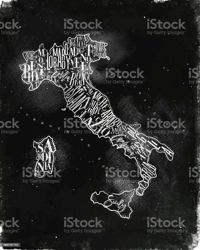 Map Italy vintage chalk vector art illustration