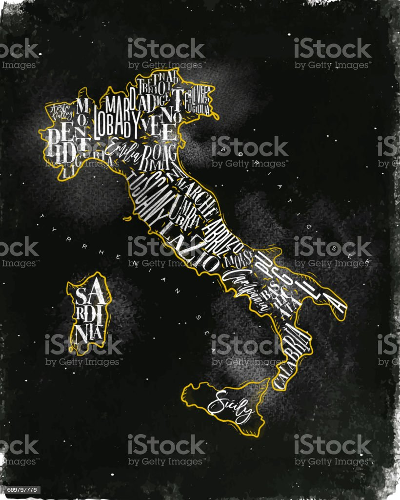 Map Italy vintage chalk yellow vector art illustration
