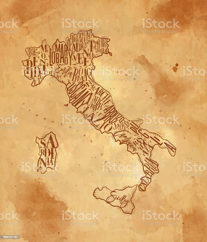 Map Italy vintage craft vector art illustration