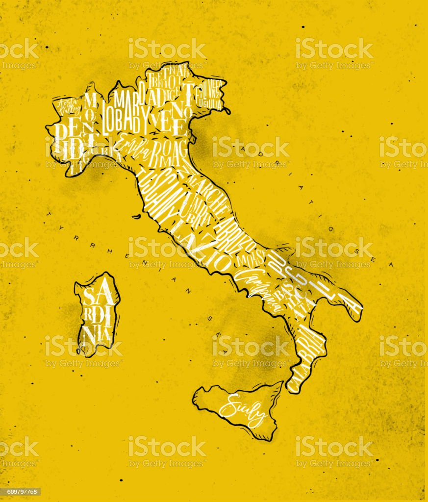 Map Italy vintage yellow vector art illustration