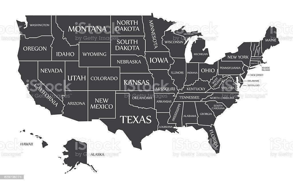 USA Map labelled black vector art illustration