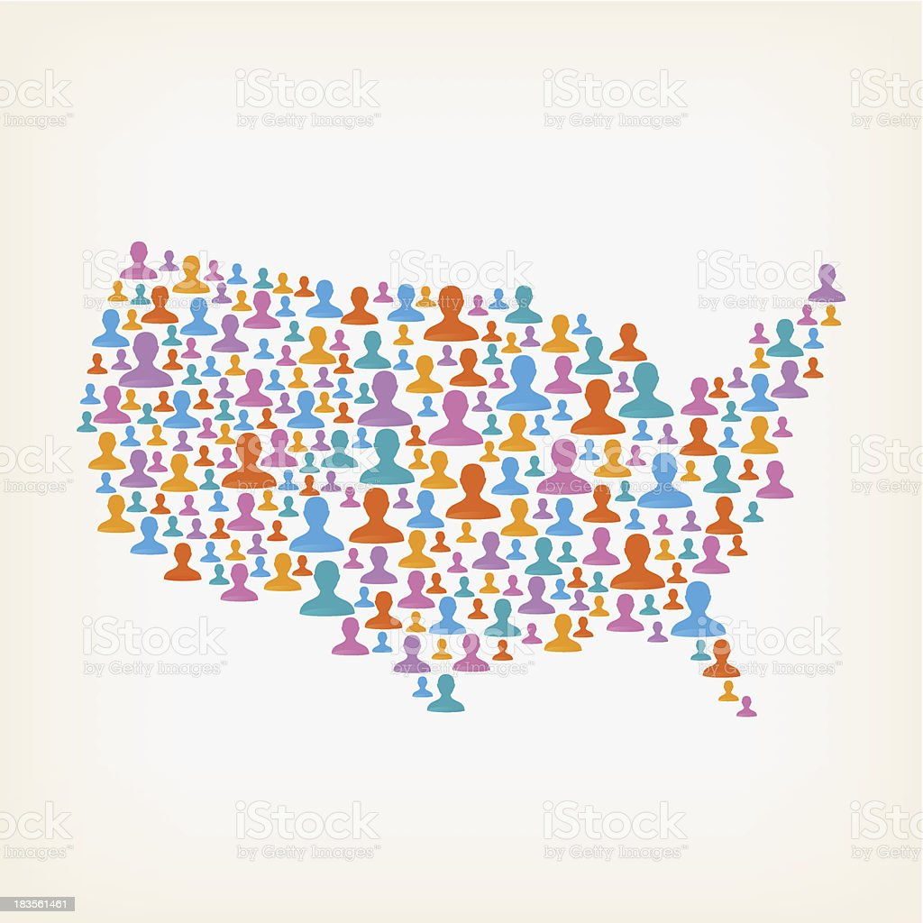 USA map made of user icons vector art illustration