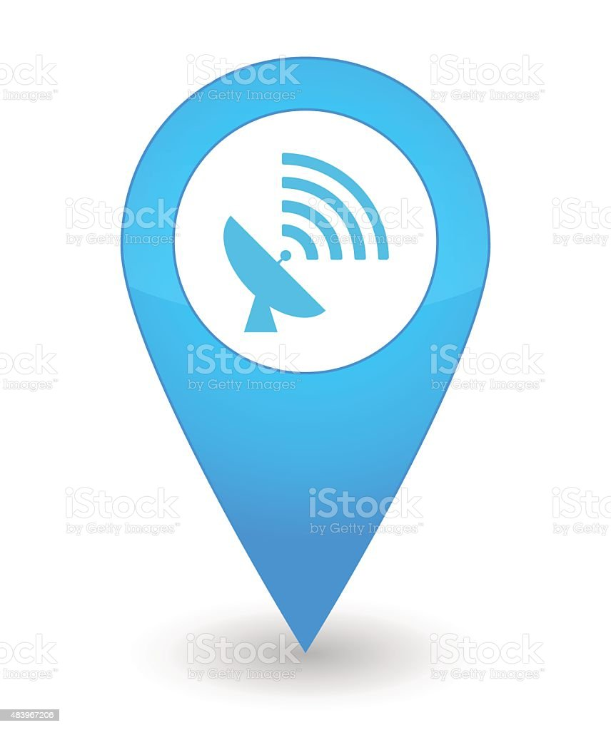 Map mark with an antenna icon vector art illustration