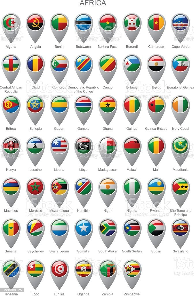 Map marker set with flags of Africa vector art illustration