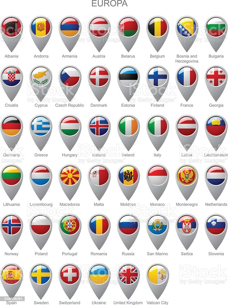 Map marker set with flags of Europa vector art illustration