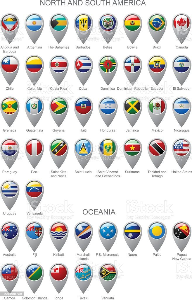 Map marker set with flags of North and South America vector art illustration