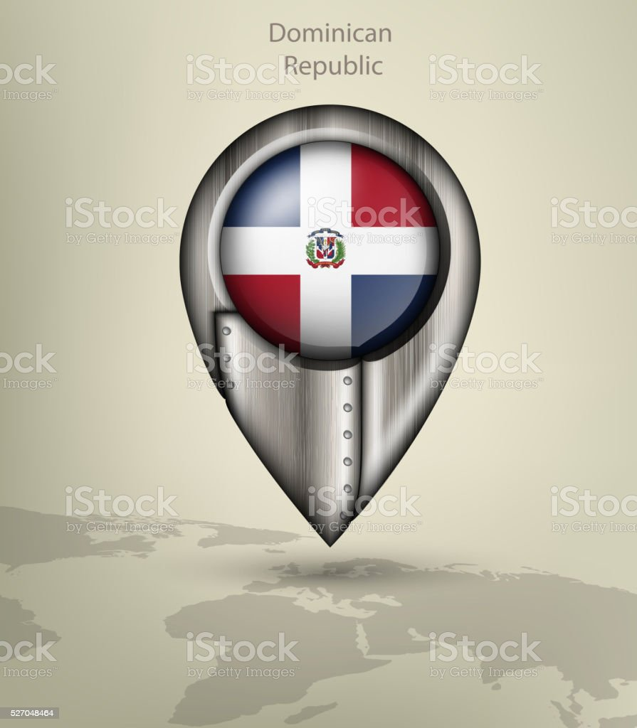 map marker steel with glare and shadows dominican republic vector art illustration