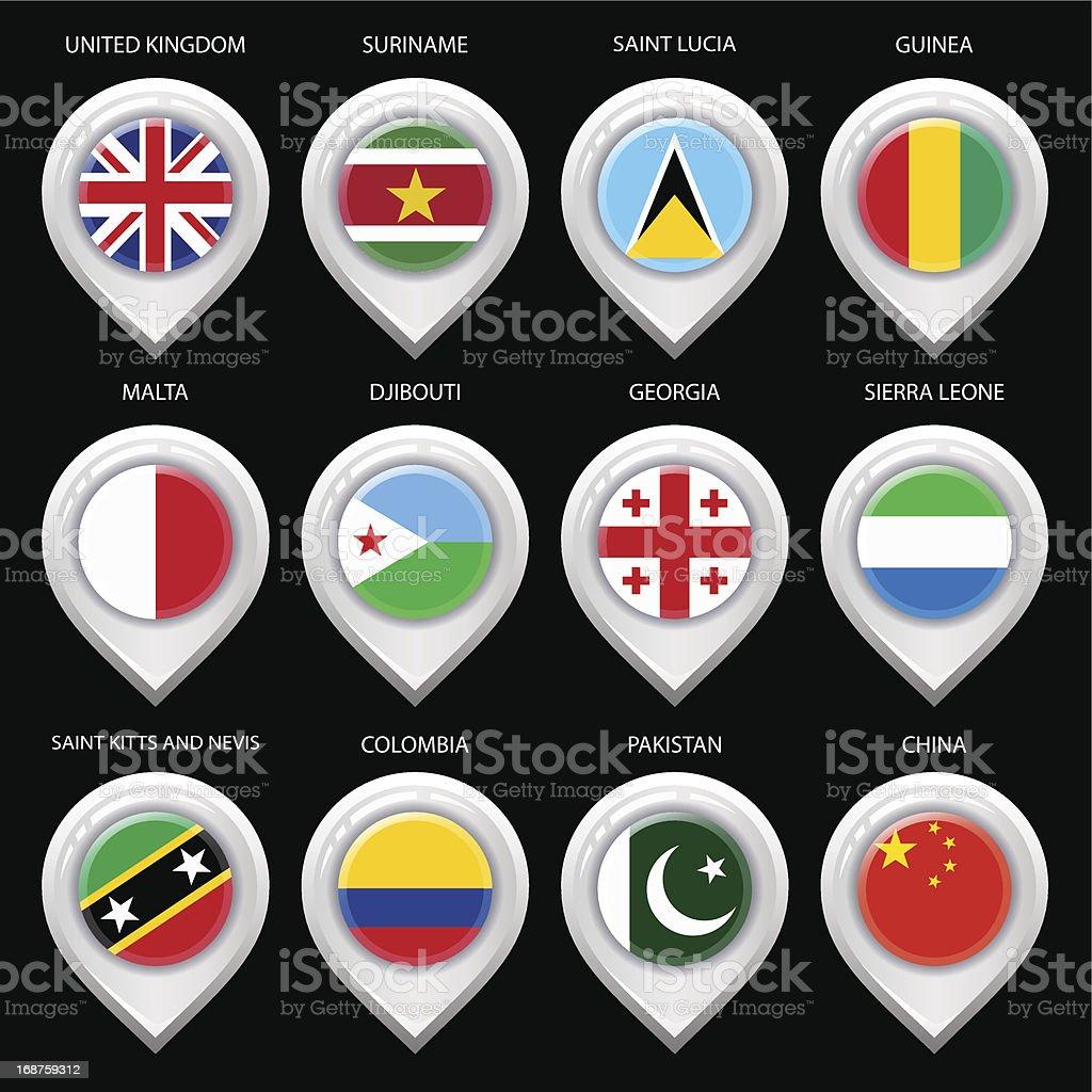 Карта маркер с флагом страны-набор четвертый векторная иллюстрация