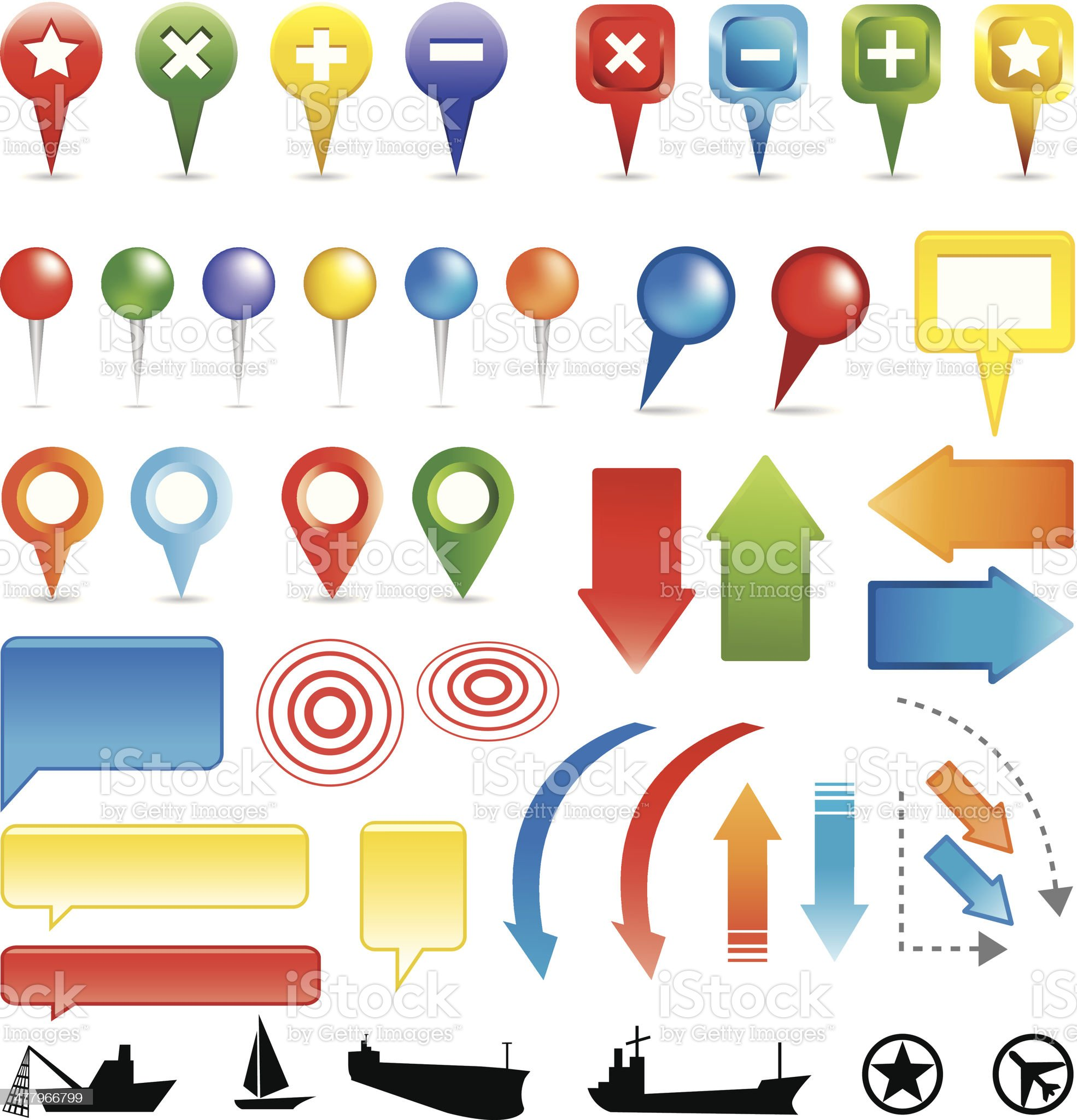 Map Markers colorful royalty-free stock vector art