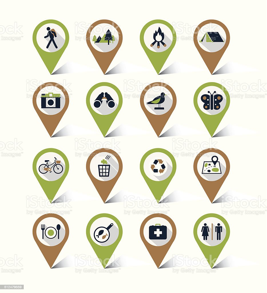 Map markers icons set : Nature & Eco, Trips&Travel vector art illustration