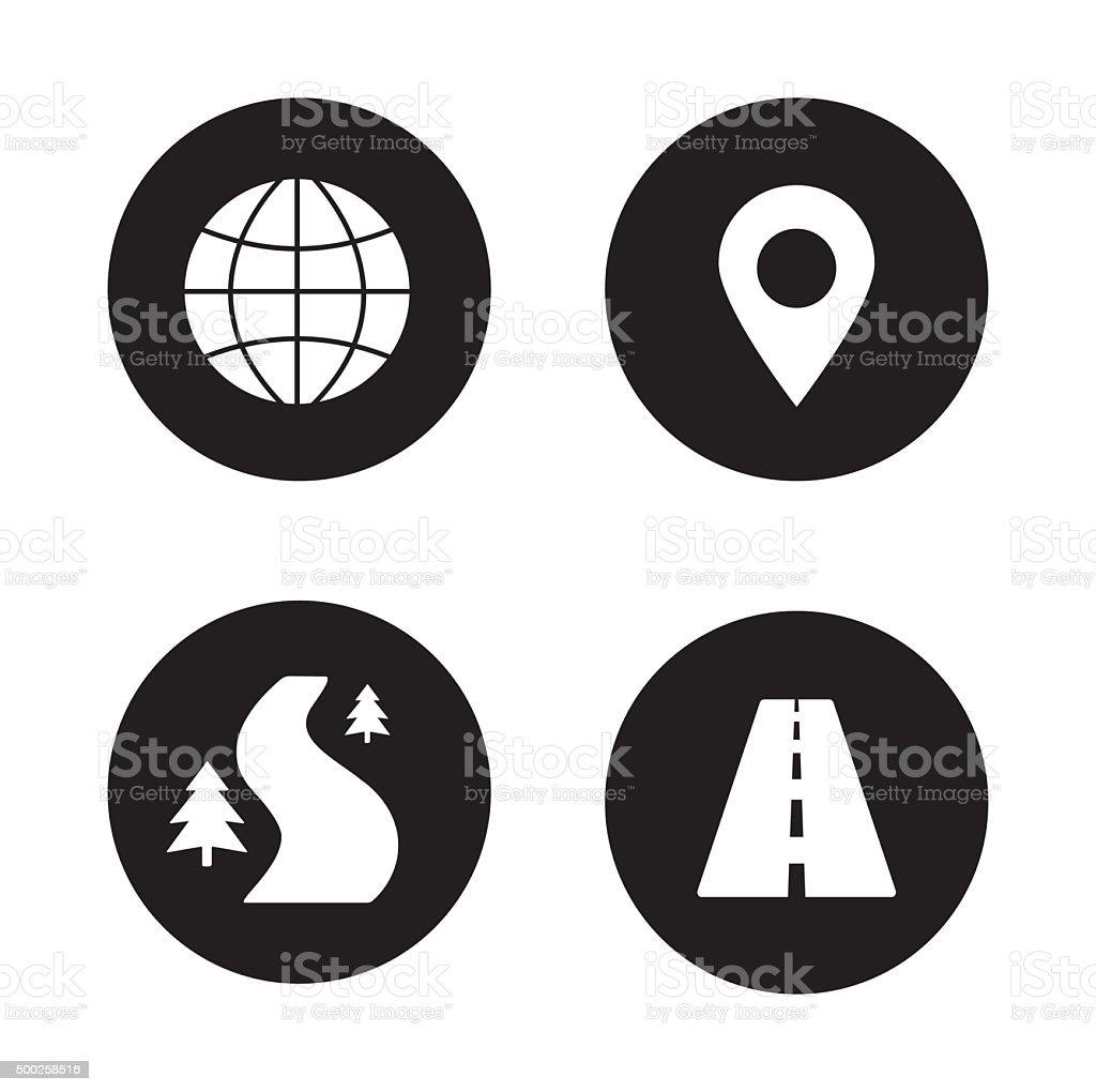 Map navigation black icons set vector art illustration