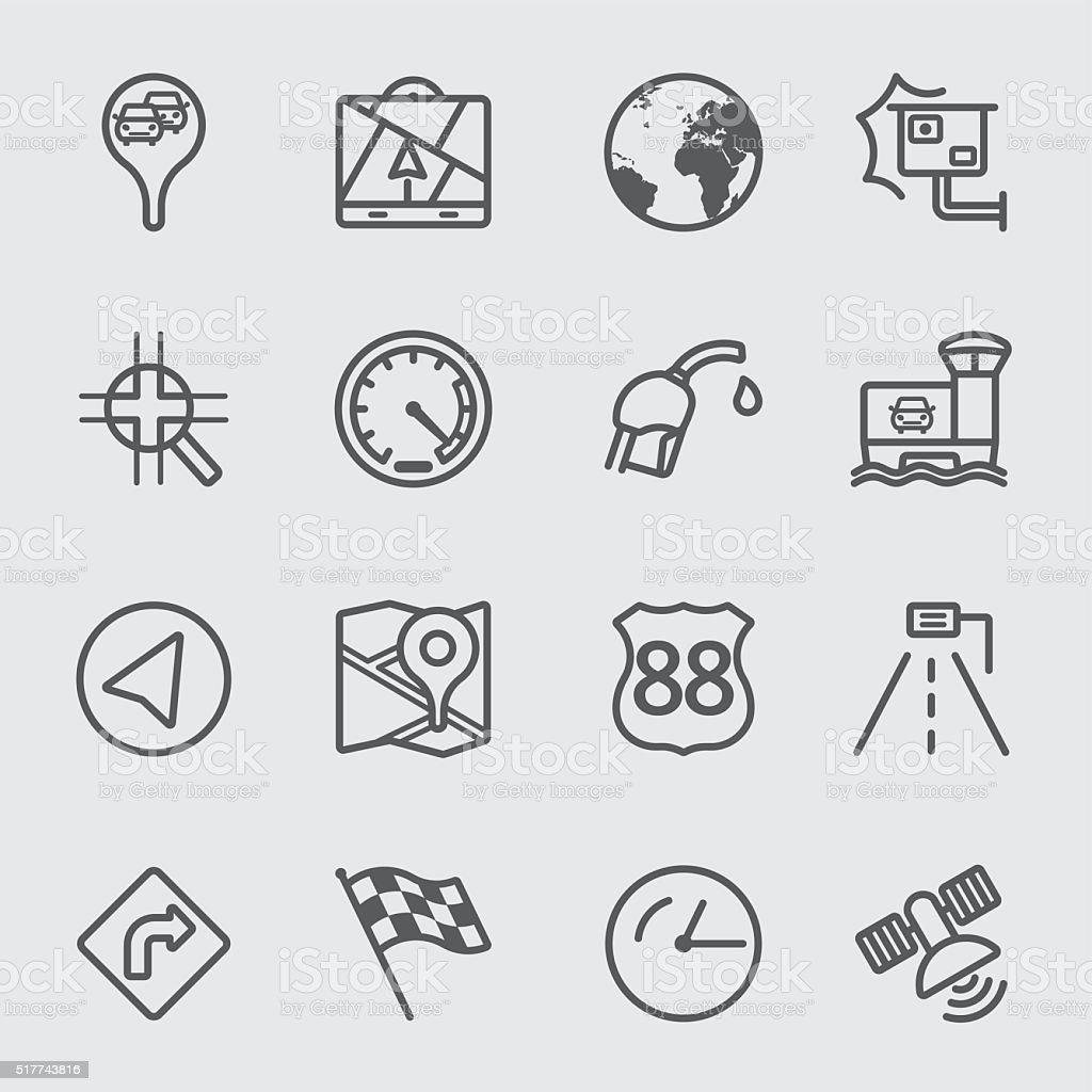 Map navigation line icon vector art illustration