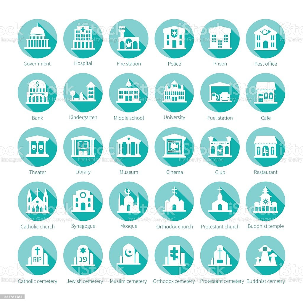 Map navigation vector iconset in flat style vector art illustration