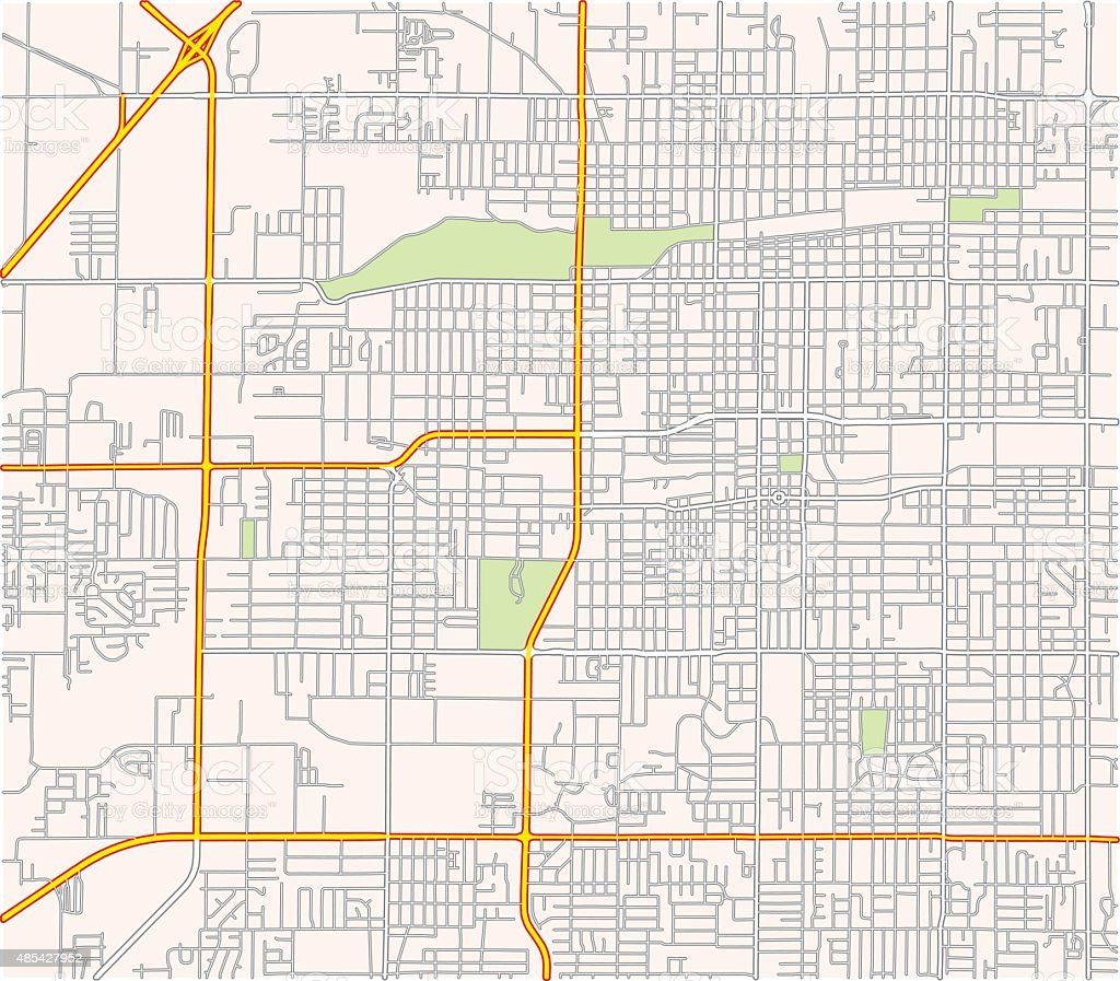 Map of a suburban road network vector art illustration