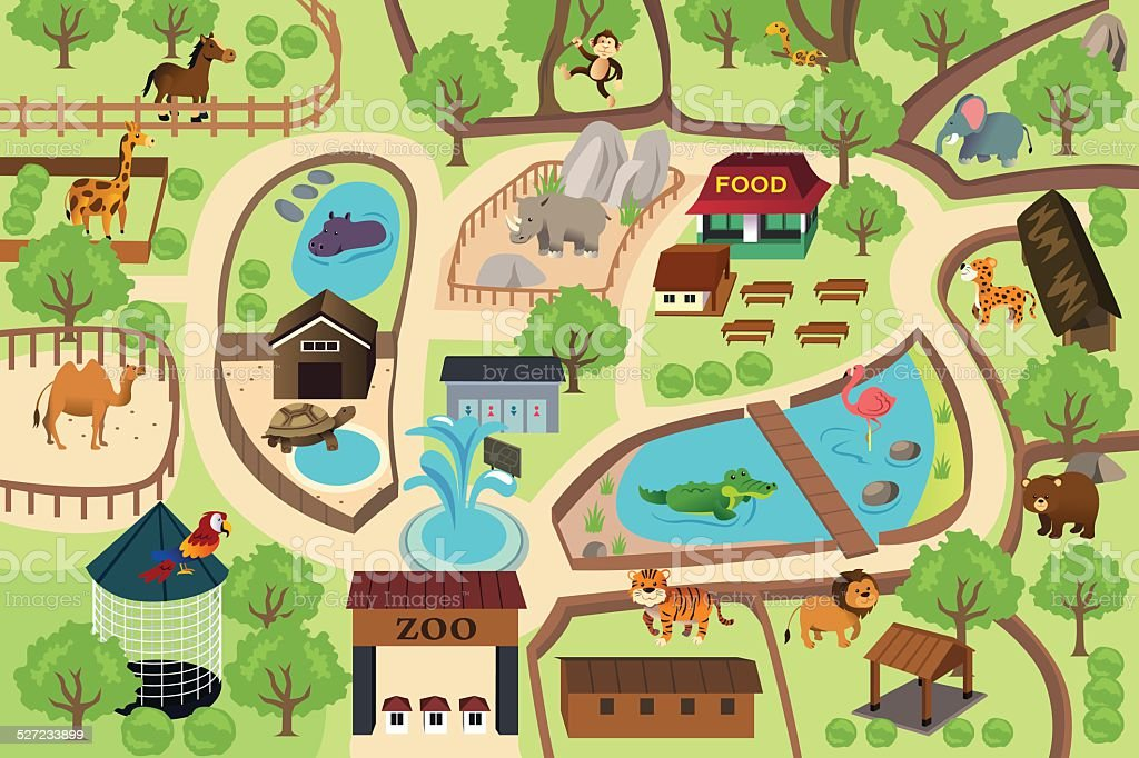 Map of a zoo park vector art illustration