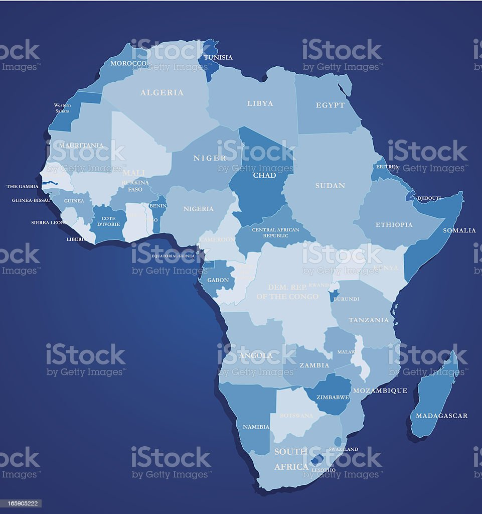 Map Of Africa- Blue vector art illustration