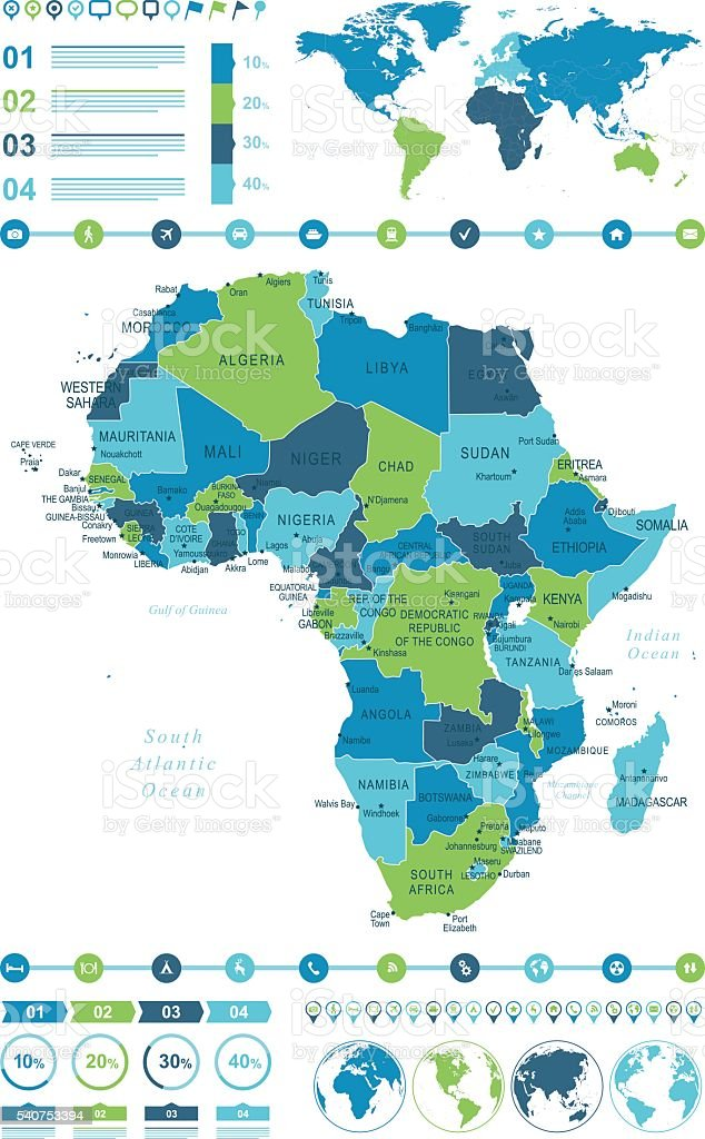 Map of Africa Infographic vector art illustration