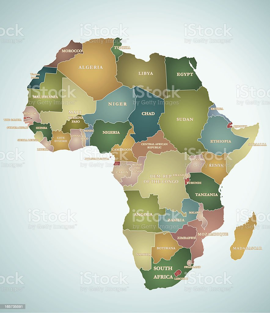 Map Of Africa vector art illustration