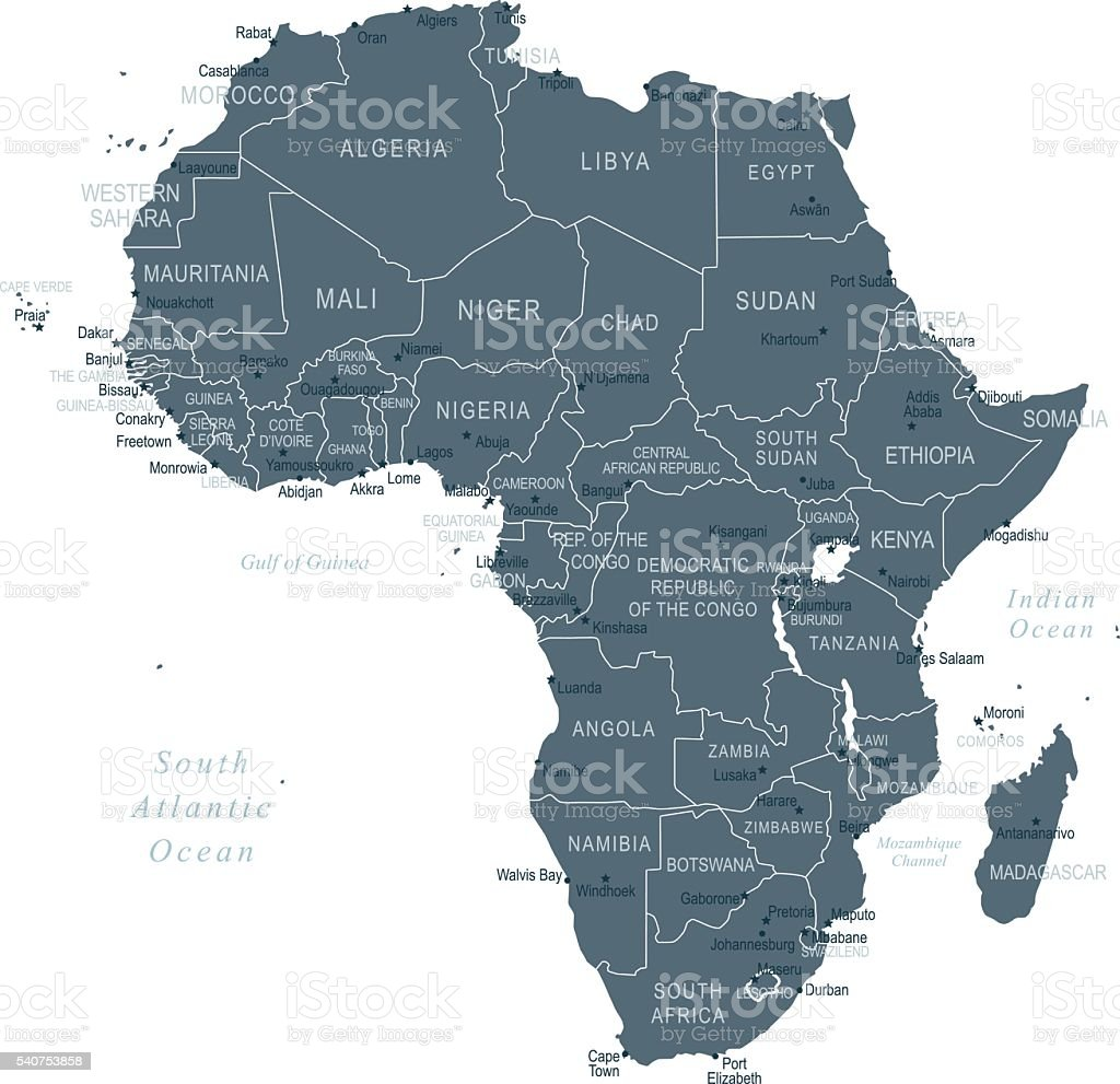 Map of Africa vector art illustration