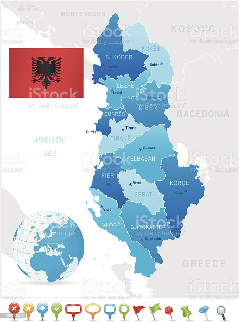 Map of Albania - states, cities, flag and icons royalty-free stock vector art