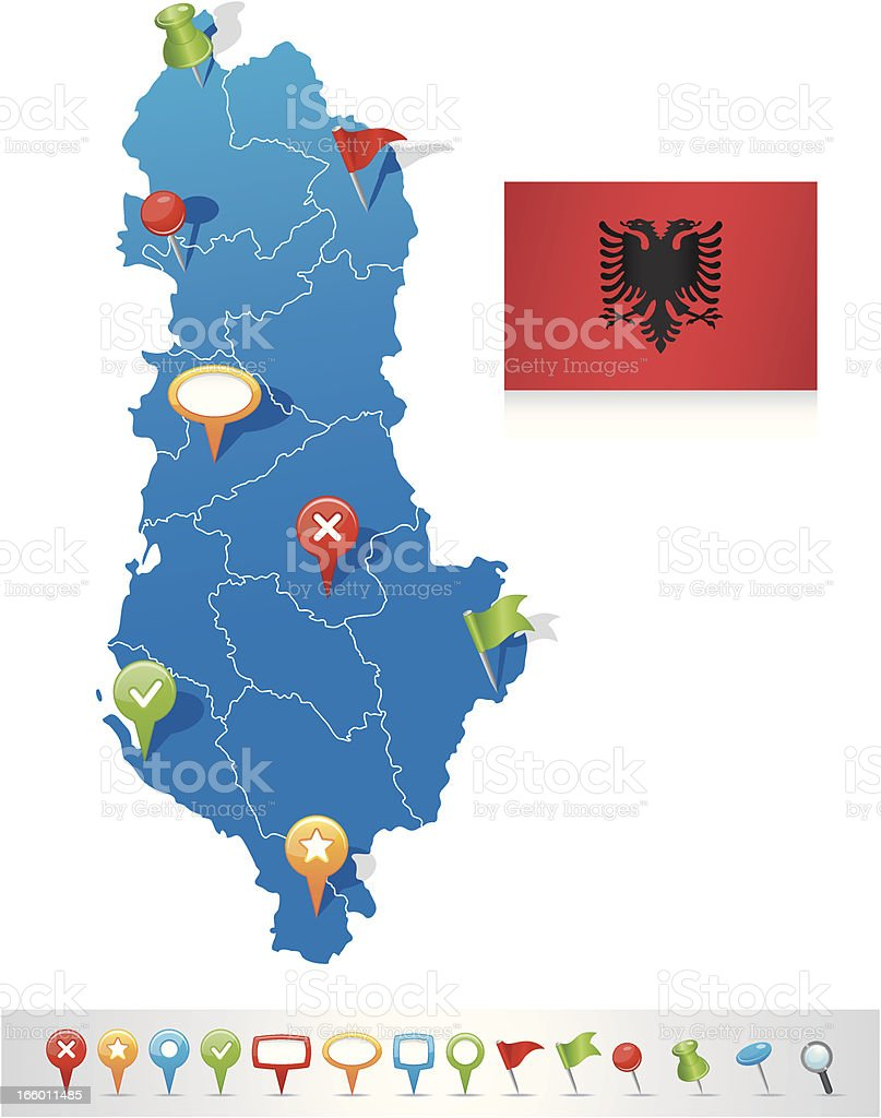 Map of Albania with navigation icons royalty-free stock vector art